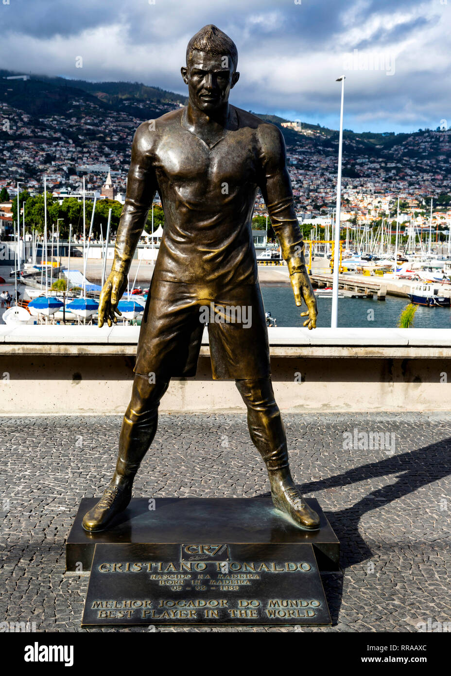 Cristiano Ronaldo's statue on the waterfront outside the CR7 Museum, Funchal Madeira, Portugal. - Stock Image