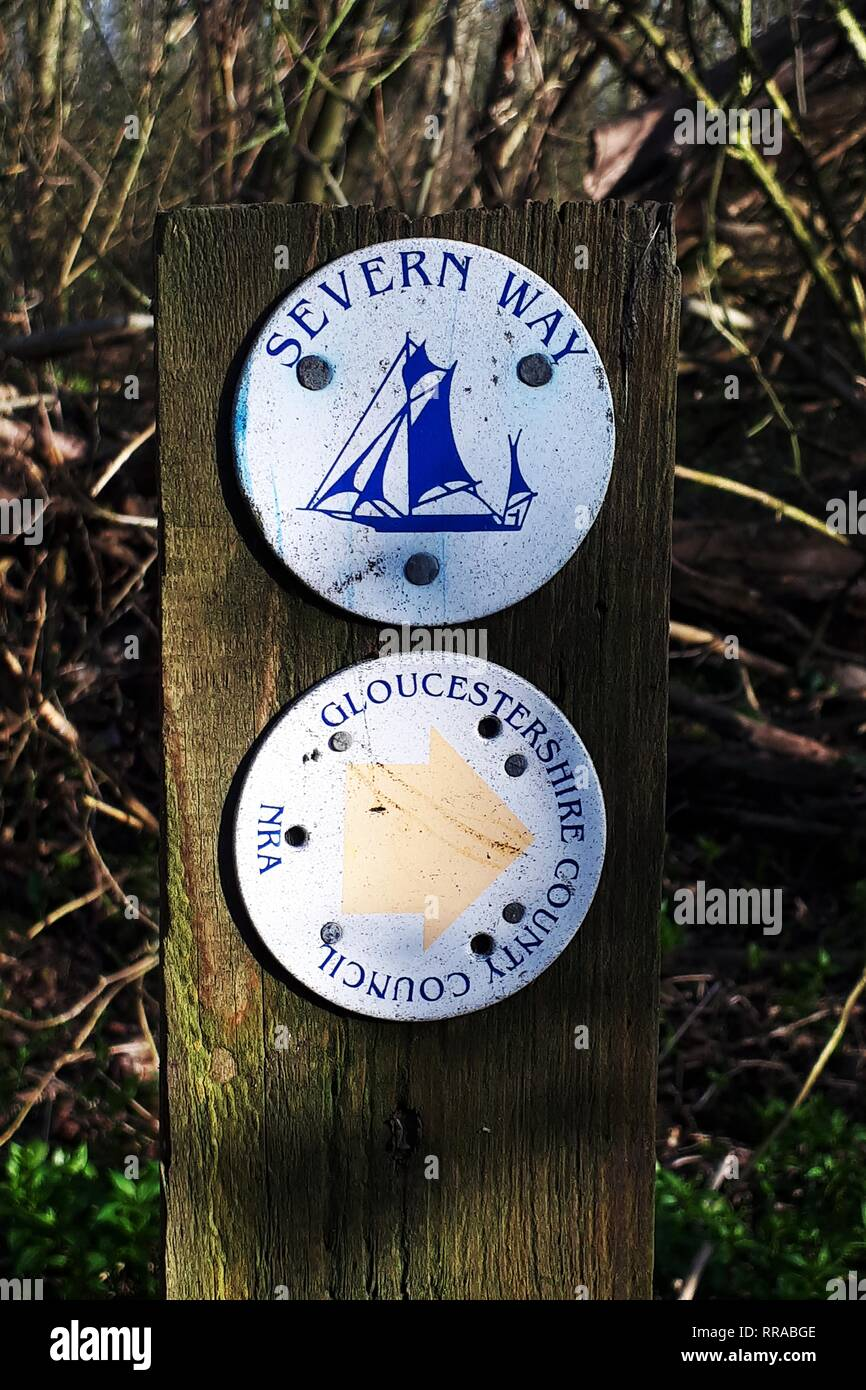 Severn Way sign on the banks of the River Severn, Gloucestershire, England  Picture by Antony Thompson - Thousand Word Media, NO SALES, NO SYNDICATION - Stock Image