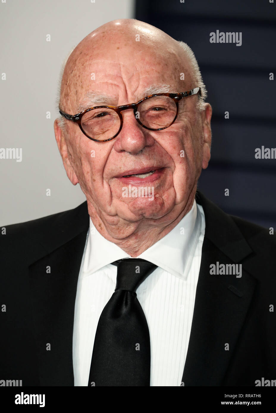 BEVERLY HILLS, LOS ANGELES, CA, USA - FEBRUARY 24: Rupert Murdoch arrives at the 2019 Vanity Fair Oscar Party held at the Wallis Annenberg Center for the Performing Arts on February 24, 2019 in Beverly Hills, Los Angeles, California, United States. (Photo by Xavier Collin/Image Press Agency) - Stock Image