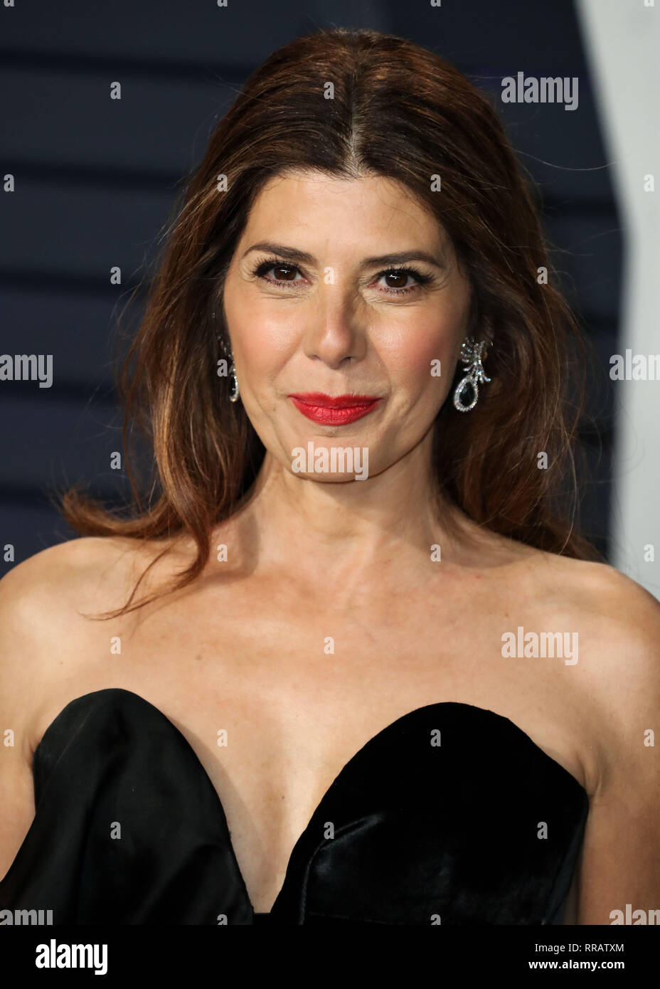 BEVERLY HILLS, LOS ANGELES, CA, USA - FEBRUARY 24: Marisa Tomei arrives at the 2019 Vanity Fair Oscar Party held at the Wallis Annenberg Center for the Performing Arts on February 24, 2019 in Beverly Hills, Los Angeles, California, United States. (Photo by Xavier Collin/Image Press Agency) - Stock Image
