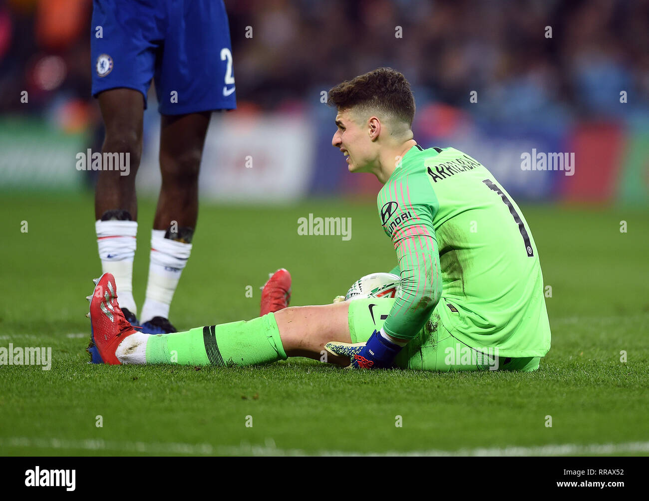 CHELSEA GOALKEEPER KEPA ARRIZABALAGA STRUGGLING WITH CRAMP DURING THE PERIOD OF EXTRA-TIME., CHELSEA V MANCHESTER CITY, CHELSEA V MANCHESTER CITY - Stock Image