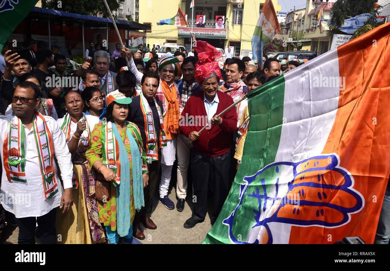 Guwahati, Assam, India. 25th Feb, 2019. Congress General Secretary Harish Rawat flagged off Prachar Yatra for publicity of Congress President Rahul Gandhi's Rally in Guwahati on Monday, 25 February 2019. Credit: Hafiz Ahmed/Alamy Live News Stock Photo