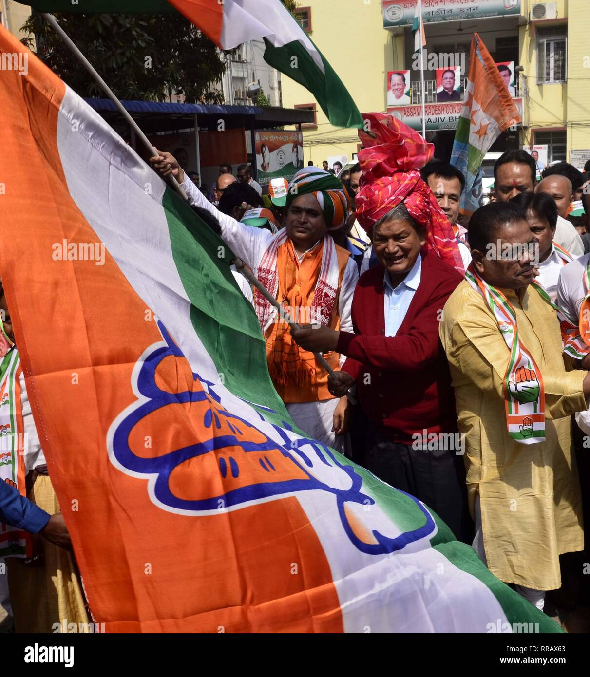 Guwahati, Assam, India. 25th Feb, 2019. Congress General Secretary Harish Rawat flagged off Prachar Yatra for publicity of Congress President Rahul Gandhi's Rally in Guwahati on Monday, 25 February 2019. Credit: Hafiz Ahmed/Alamy Live News Stock Photo