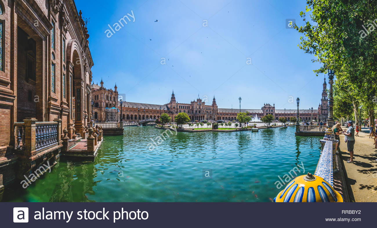 Panoramic view of 'Plaza de España' in Sevilla, a must see world heritage witch shows a incredible sense of peacefull and pleasant. - Stock Image