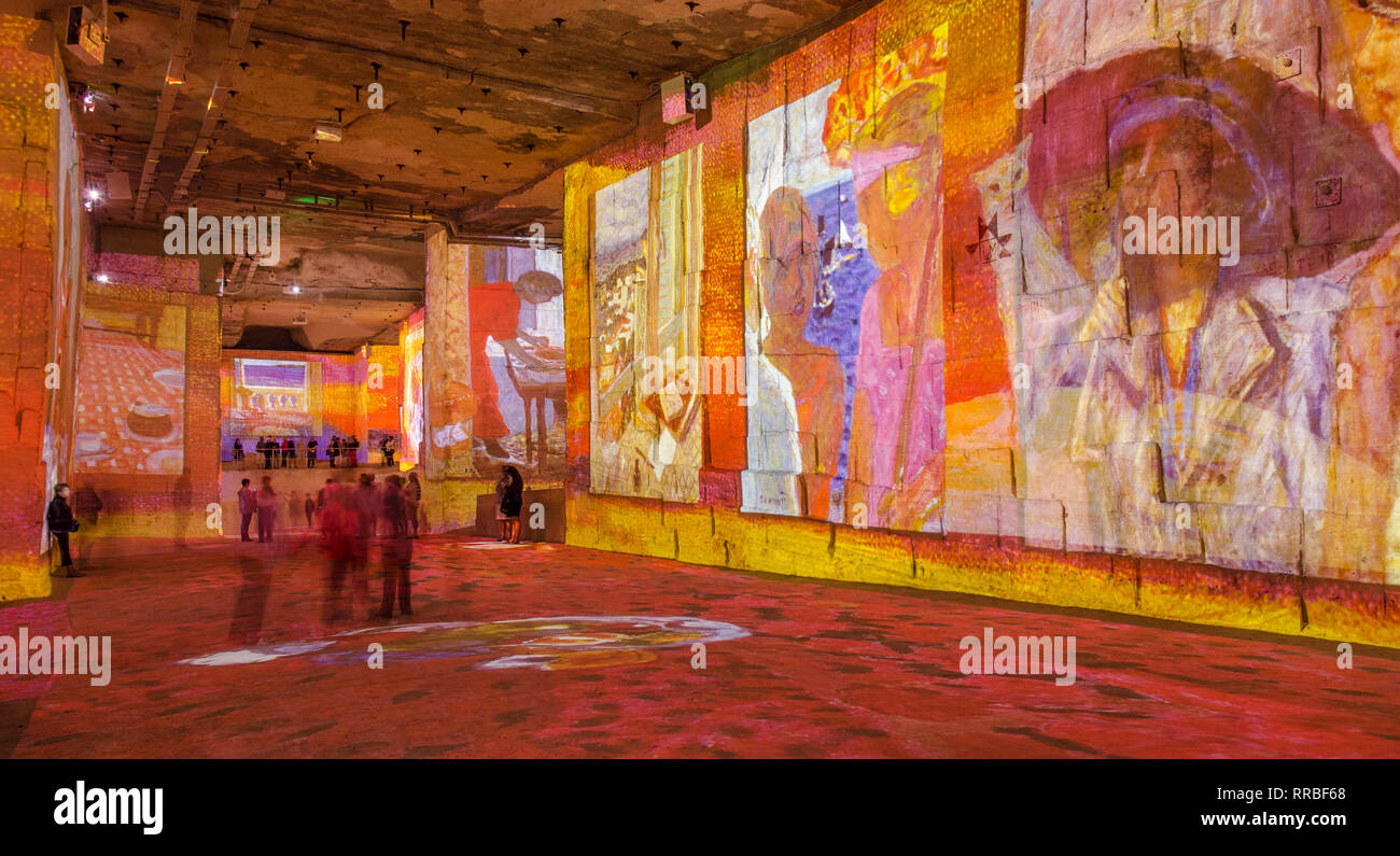 FRANCE LES BAUX DE PROVENCE SEP 2018 view of the light exhibition at the  Carrieres de Lumieres (careers of light) where famous paintings are projecte - Stock Image