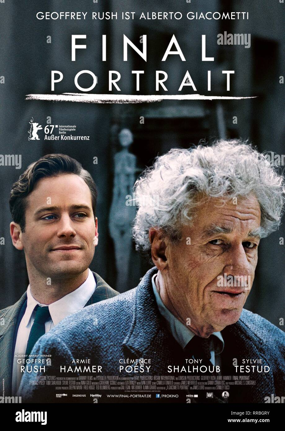 FINAL PORTRAIT, ARMIE HAMMER , GEOFFREY RUSH POSTER, 2017 - Stock Image