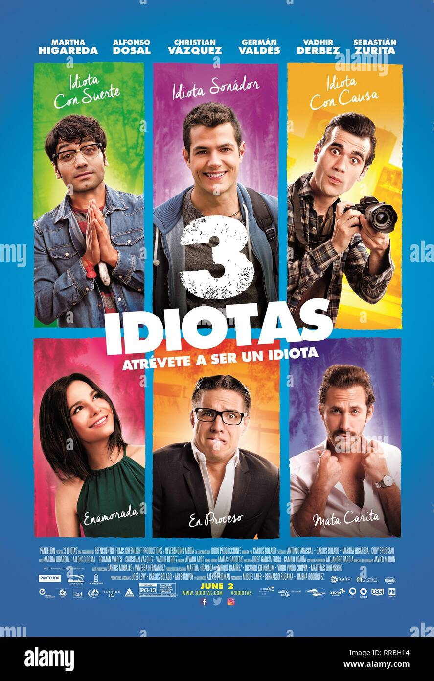 VADHIR DERBEZ, GERMAN VALDEZ, CHRISTIAN VAZQUEZ, MARTHA HIGAREDA, ALFONSO DOSAL & SEBASTIAN ZURITA POSTER  Character(s): Isidoro, Beto, Felipe, Mariana, Pancho, Emiliano  Film '3 IDIOTAS; 3 IDIOTS' (2017)  Directed By CARLOS BOLADO  31 March 2017  AFF21268  Allstar Picture Library/GREENLIGHT PRODUCTIONS  **WARNING** This Photograph is for editorial use only and is the copyright of GREENLIGHT PRODUCTIONS  and/or the Photographer assigned by the Film or Production Company & can only be reproduced by publications in conjunction with the promotion of the above Film. A Mandatory Credit To GREENLIGH - Stock Image