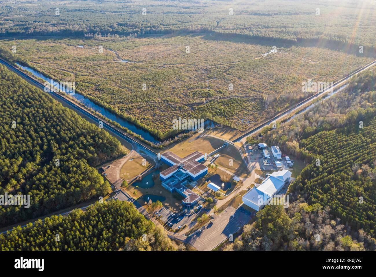 Aerial shot of the advanced LIGO gravitational detector in Livingston, Louisiana - Stock Image