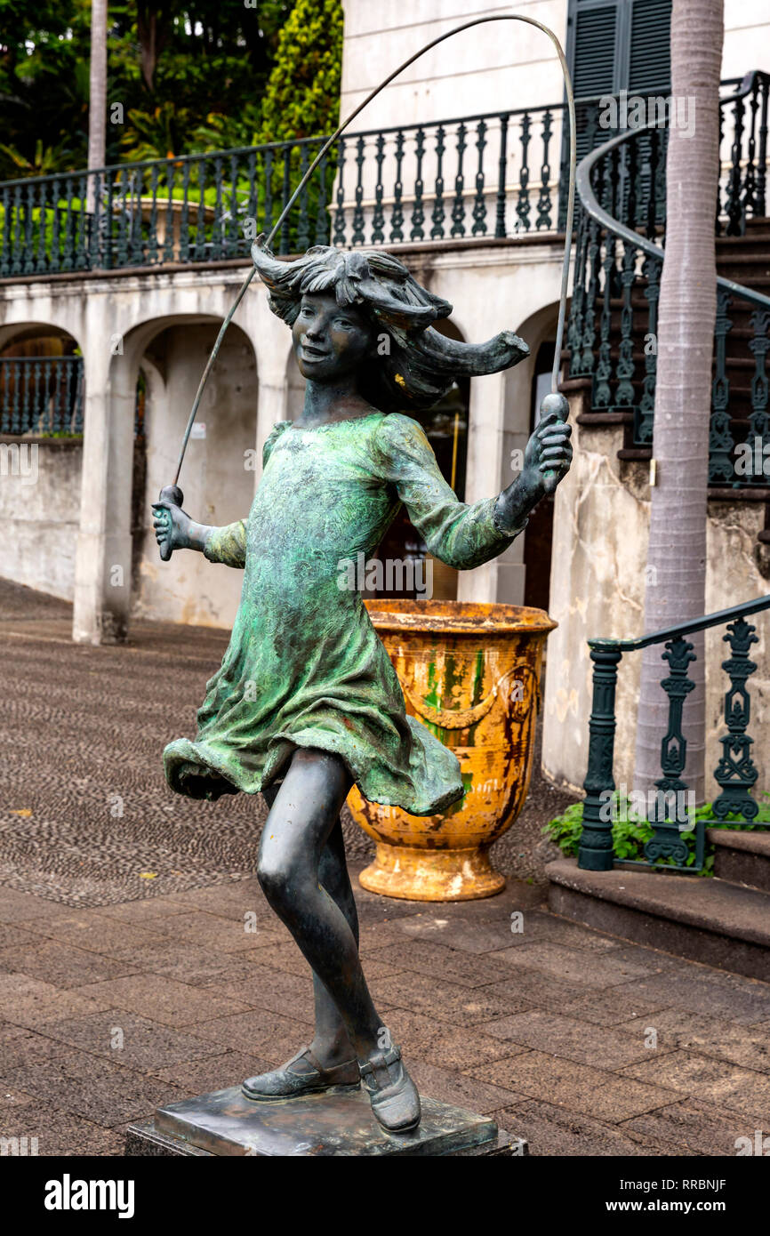 Skipping Girl sculpture by James Butler, Monte Palace Tropical Gardens, Funchal, Madeira, Portugal. - Stock Image