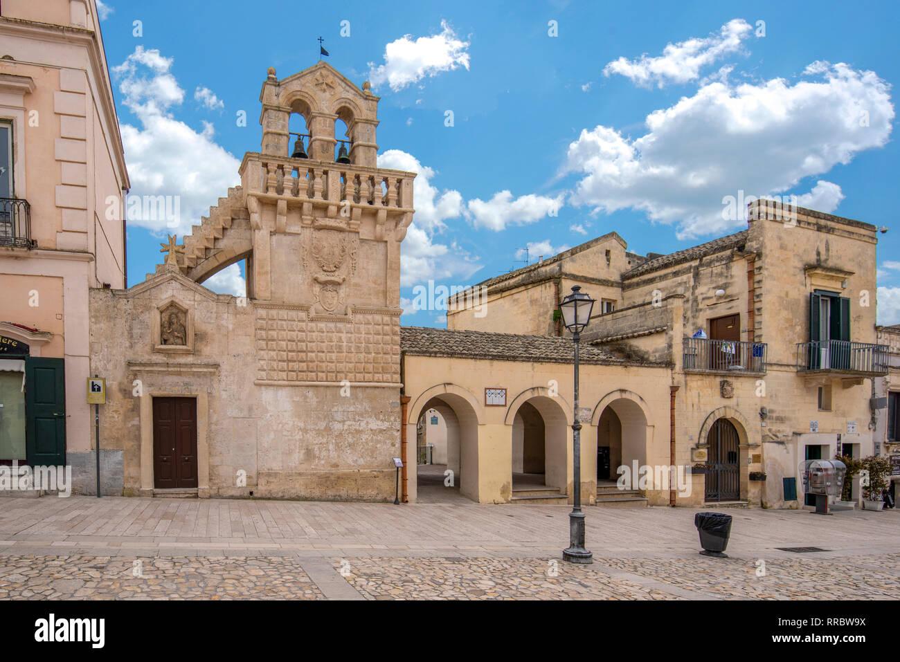 The church Chiesa del Santo spirito  on Piazza Vittorio Veneto. Unesco site. Capital of European culture 2019. Matera, Basilicata, Puglia, Italy - Stock Image