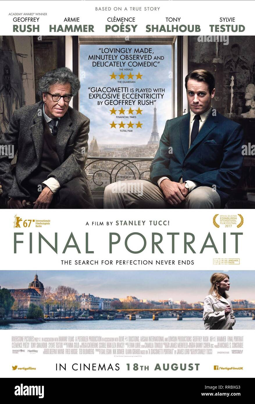 FINAL PORTRAIT, GEOFFREY RUSH , ARMIE HAMMER POSTER, 2017 - Stock Image