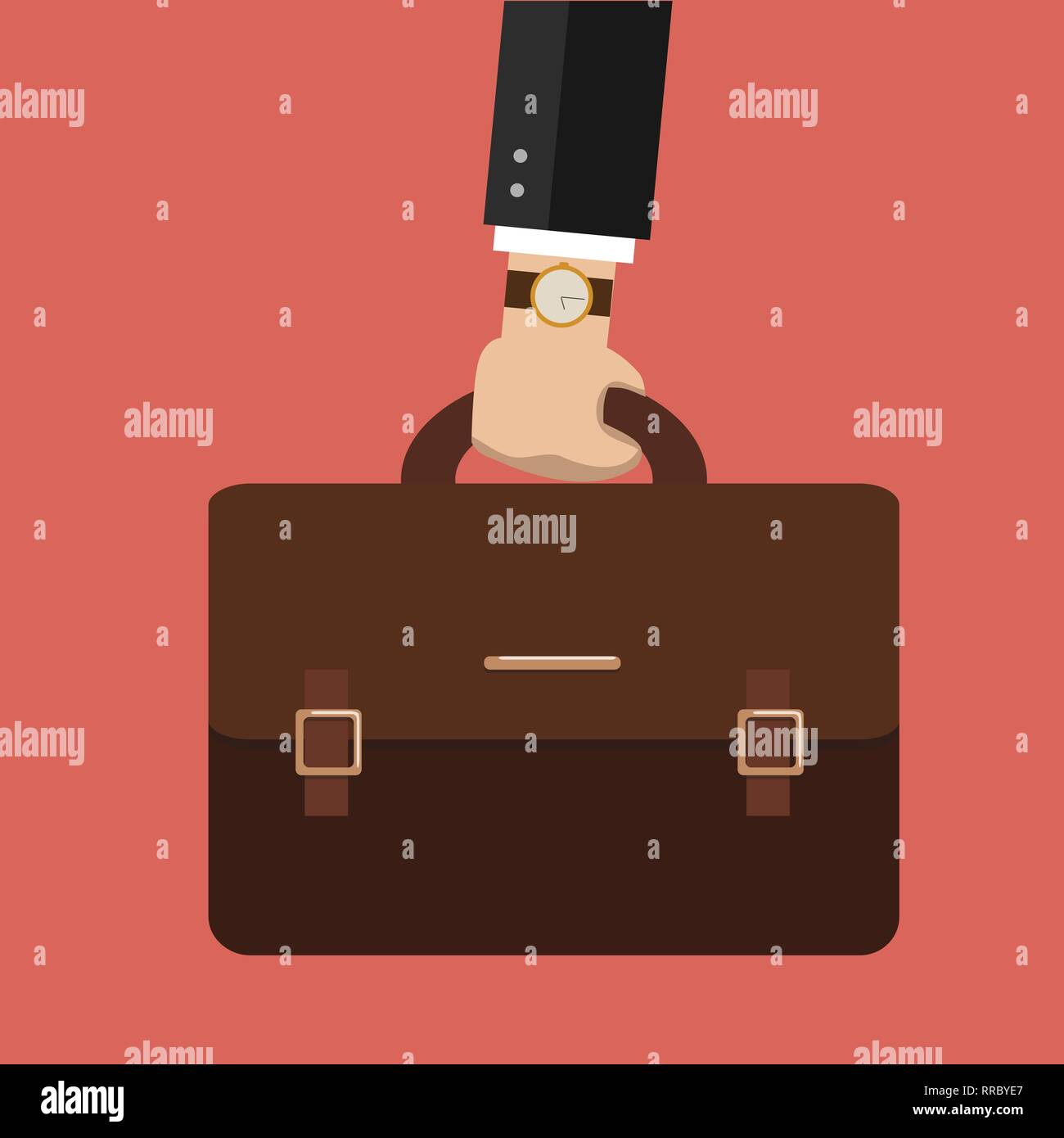 Bussiness, hand holding briefcase. Vector - Stock Image