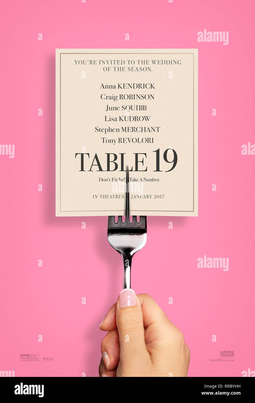 TABLE 19, MOVIE POSTER, 2017 - Stock Image