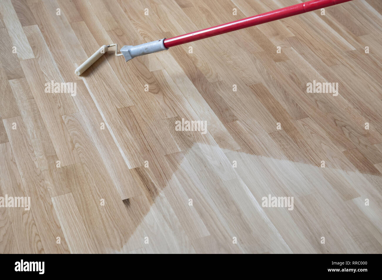 Lacquering Varnishing A Polished Oak Parquet Floor By Paint Roller