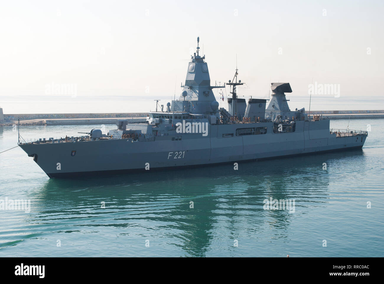 Frigate of the German Navy Hessen entering the port of Barcelona. June 21, 2018. - Stock Image