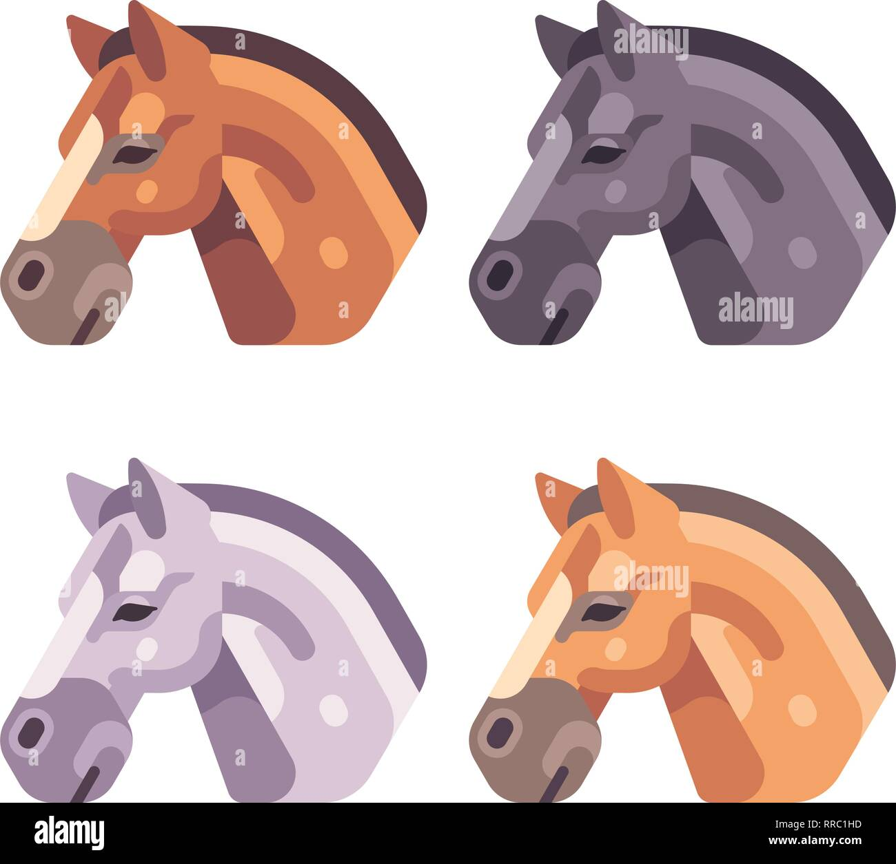 Set of horse heads of different color flat illustration - Stock Vector