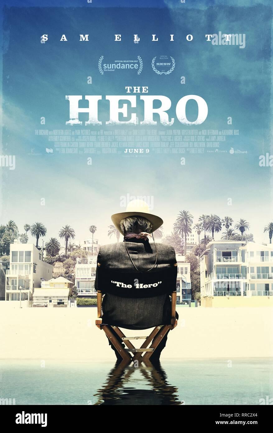 THE HERO, MOVIE POSTER, 2017 - Stock Image