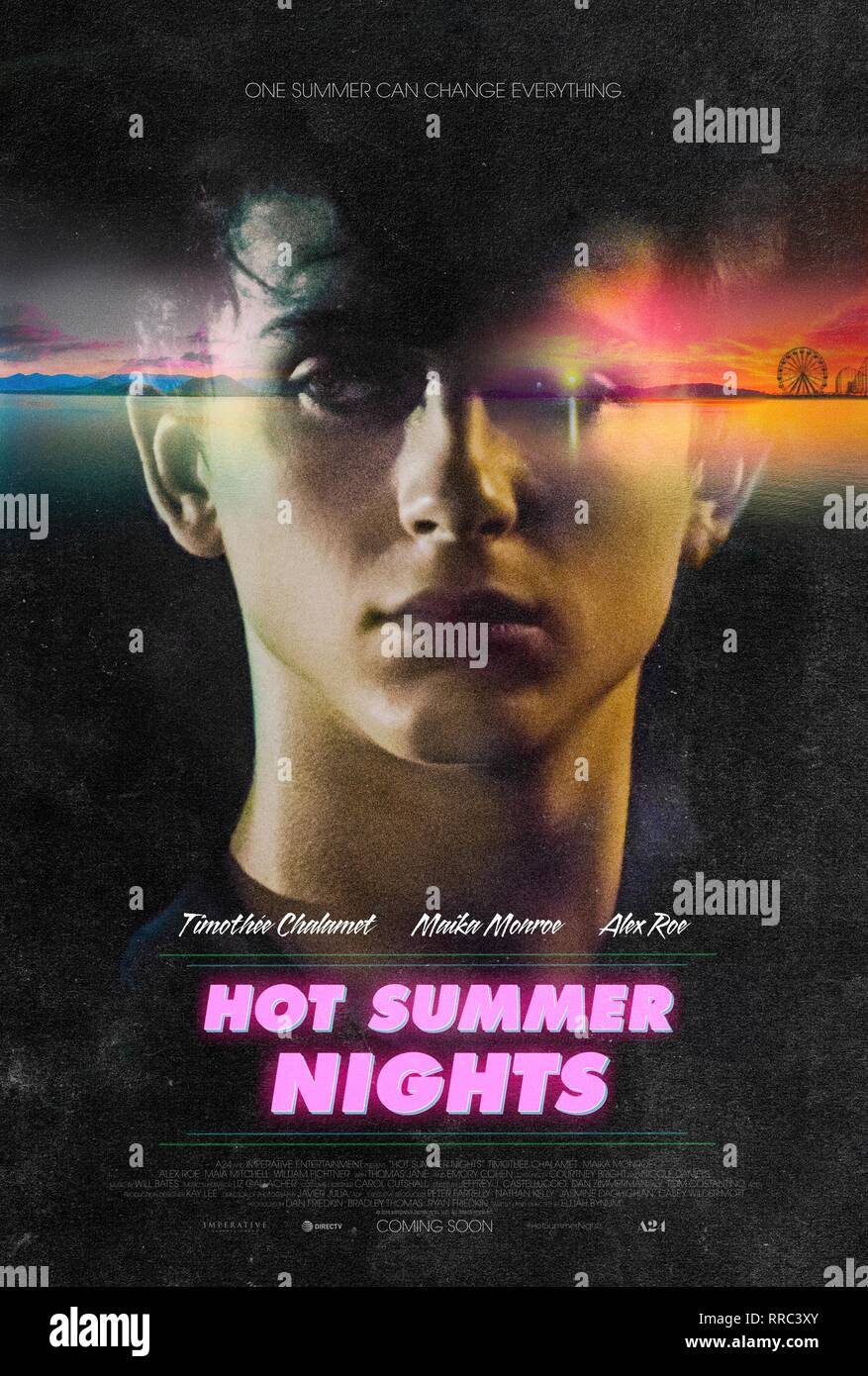 HOT SUMMER NIGHTS, TIMOTHEE CHALAMET POSTER, 2017 - Stock Image