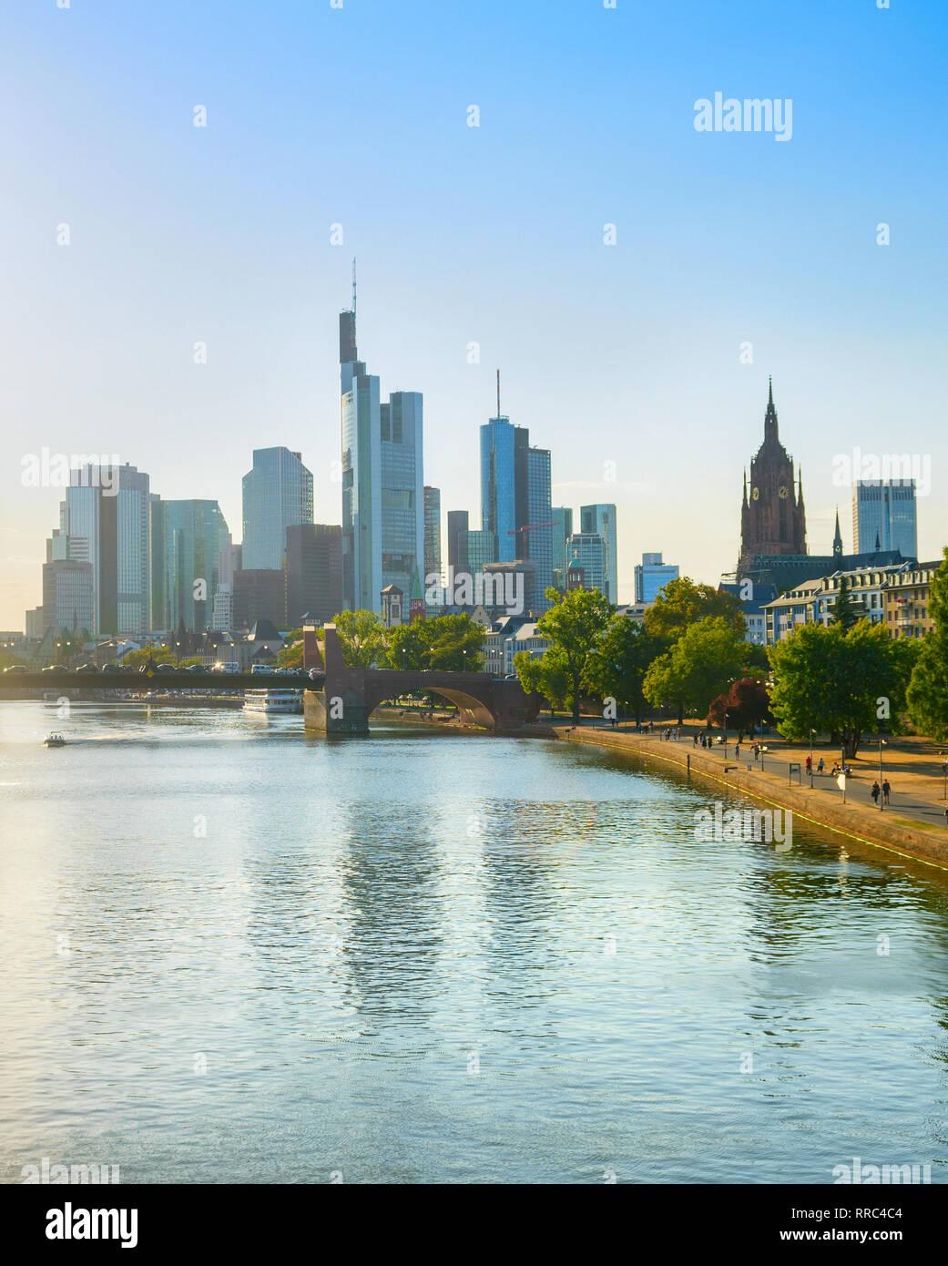 Frankfurt city skyline in bright sunshine on a summer day, Frankfurt am Main, Germany - Stock Image