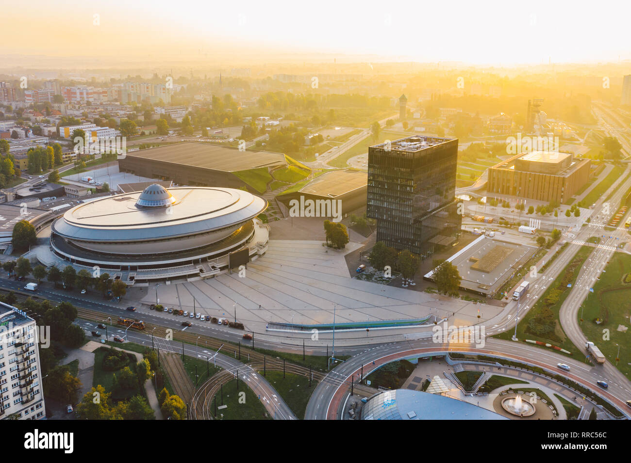 Beautiful sunrise over city center of Katowice - Stock Image