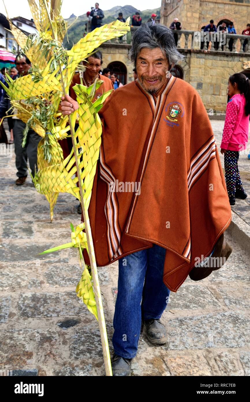 Procession - Palm Sunday in CHACAS - National park HUASCARAN. Department of Ancash.PERU            											  					  			 	  	  			 	    	 - Stock Image