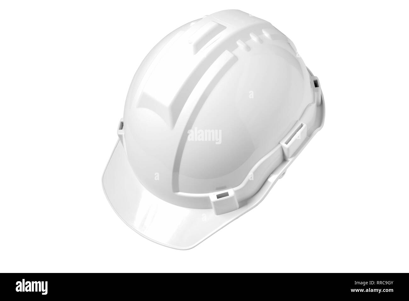 White safety helmet isolated on white background, For the meaning of White safety helmet It is a hat for engineers, supervisors and visitor - Stock Image