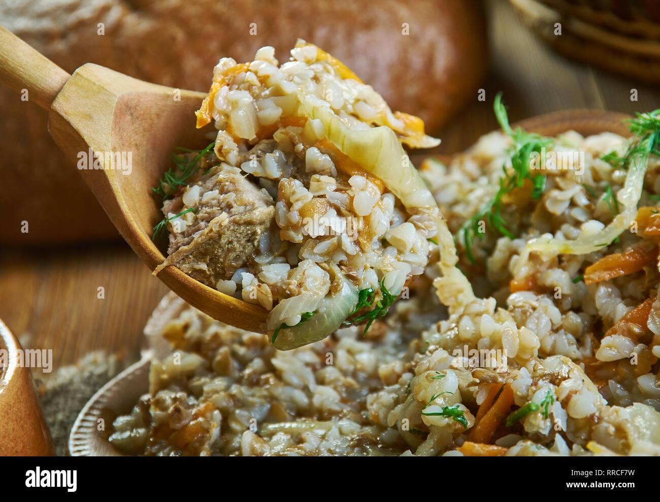 Kasha Po Kupecheski Buckwheat Porridge Vegetables Und Beef Russian 19th Century Classic Cuisine Assorted Dishes Top View Stock Photo Alamy