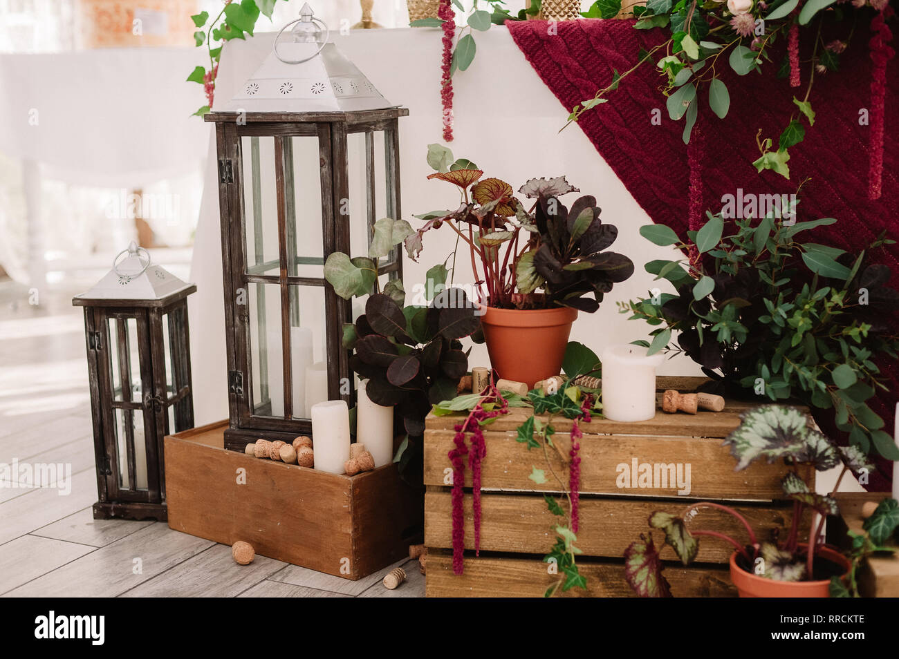 Wedding Decoration Of The Restaurant In Rustic Style Stock Photo Alamy
