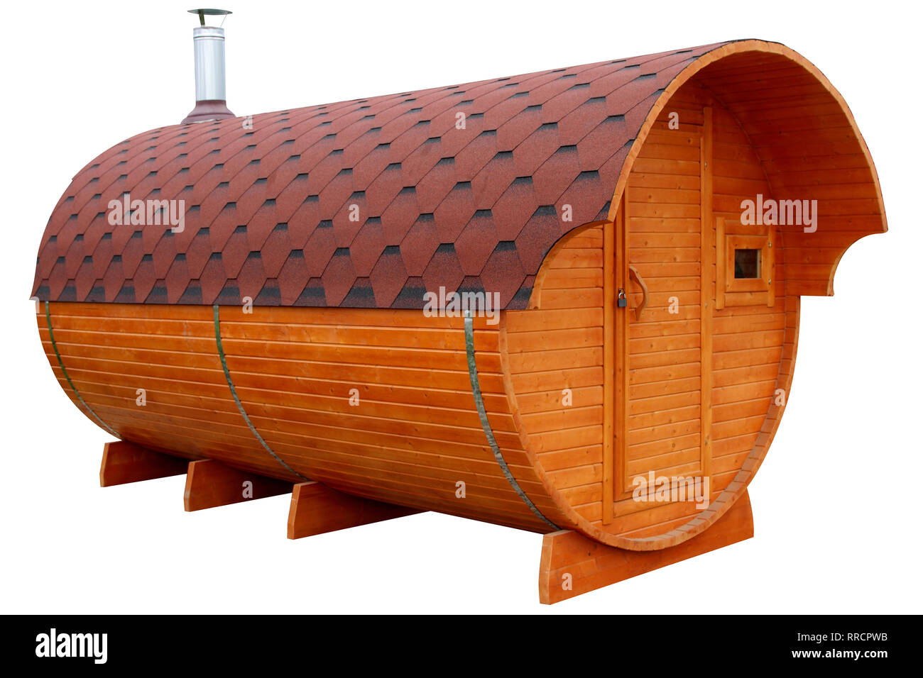 Mobile bath in the form of a wooden barrel isolated on white background. - Stock Image