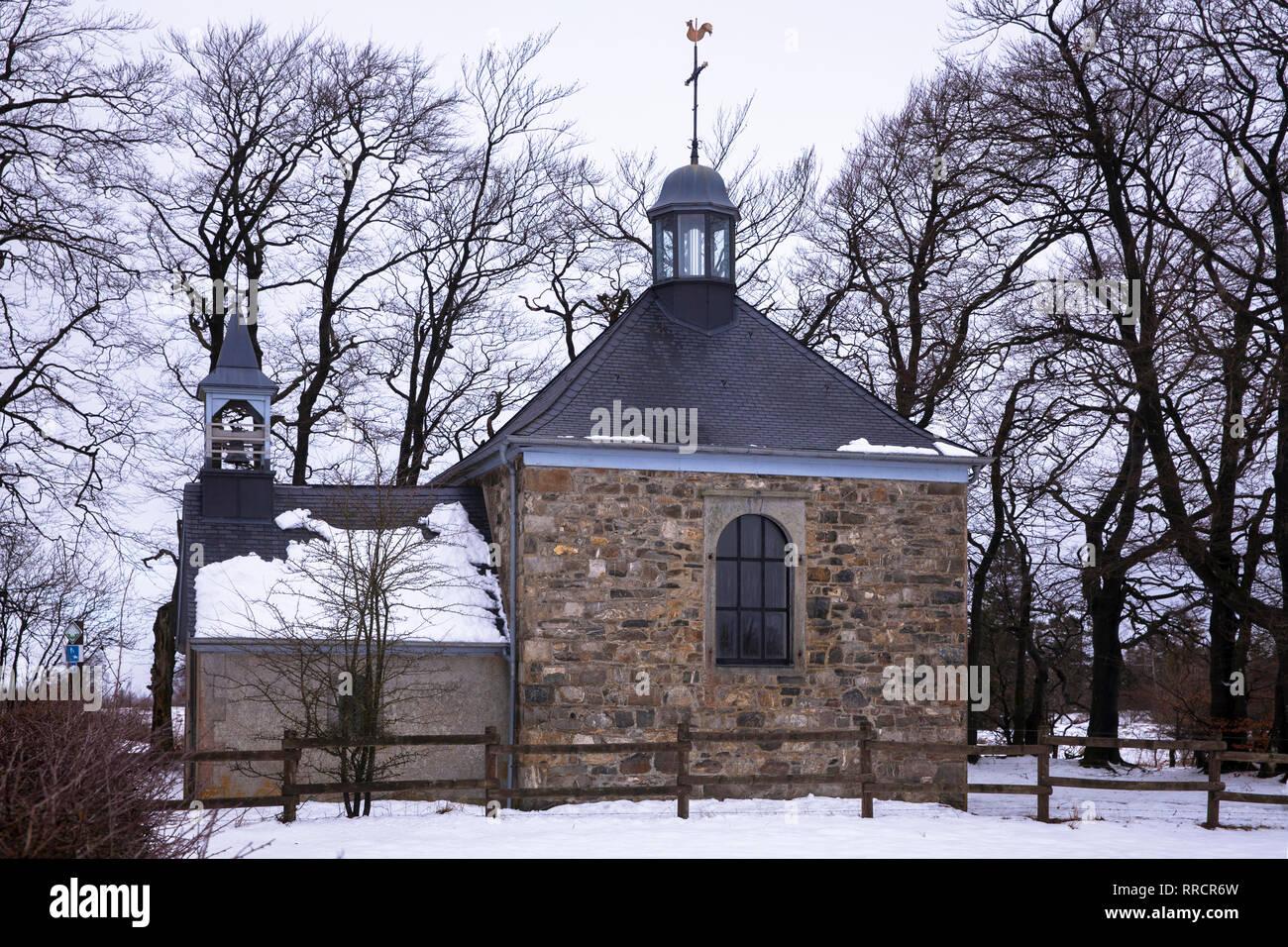 high moor High Fens, Fischbach Chapel near Baraque Michel, Belgium, Europe.  Hochmoor Hohes Venn, Kapelle Fischbach nahe Baraque Michel, Belgien, Euro Stock Photo