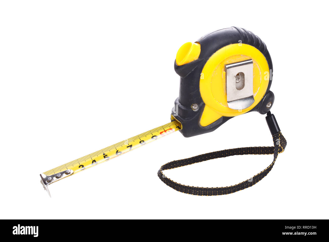 Measuring tape on empty background - Stock Image