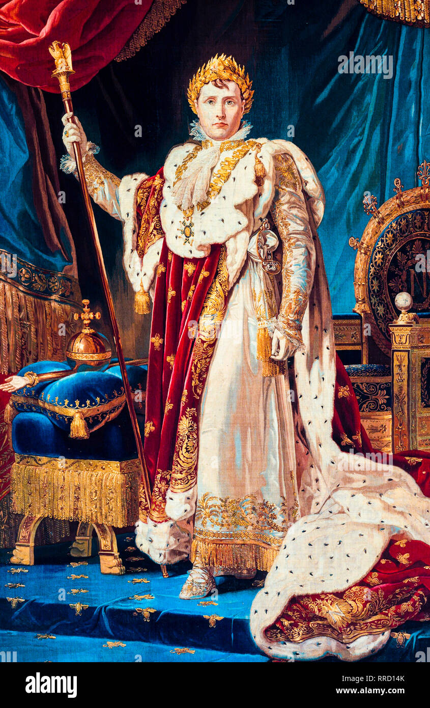 Portrait of Emperor Napoleon I in coronation robes, tapestry, after a painting by Baron Francois Gerard, c. 1808 - Stock Image