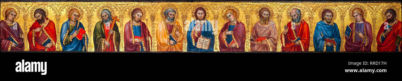 Christ and the Twelve Apostles, Taddeo di Bartolo, c. 1400, painting - Stock Image