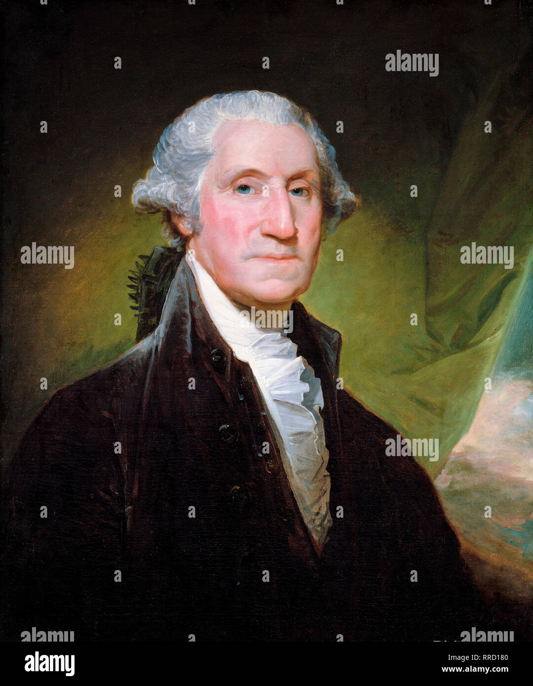 George Washington portrait by Gilbert Stuart, c. 1795, painting Stock Photo