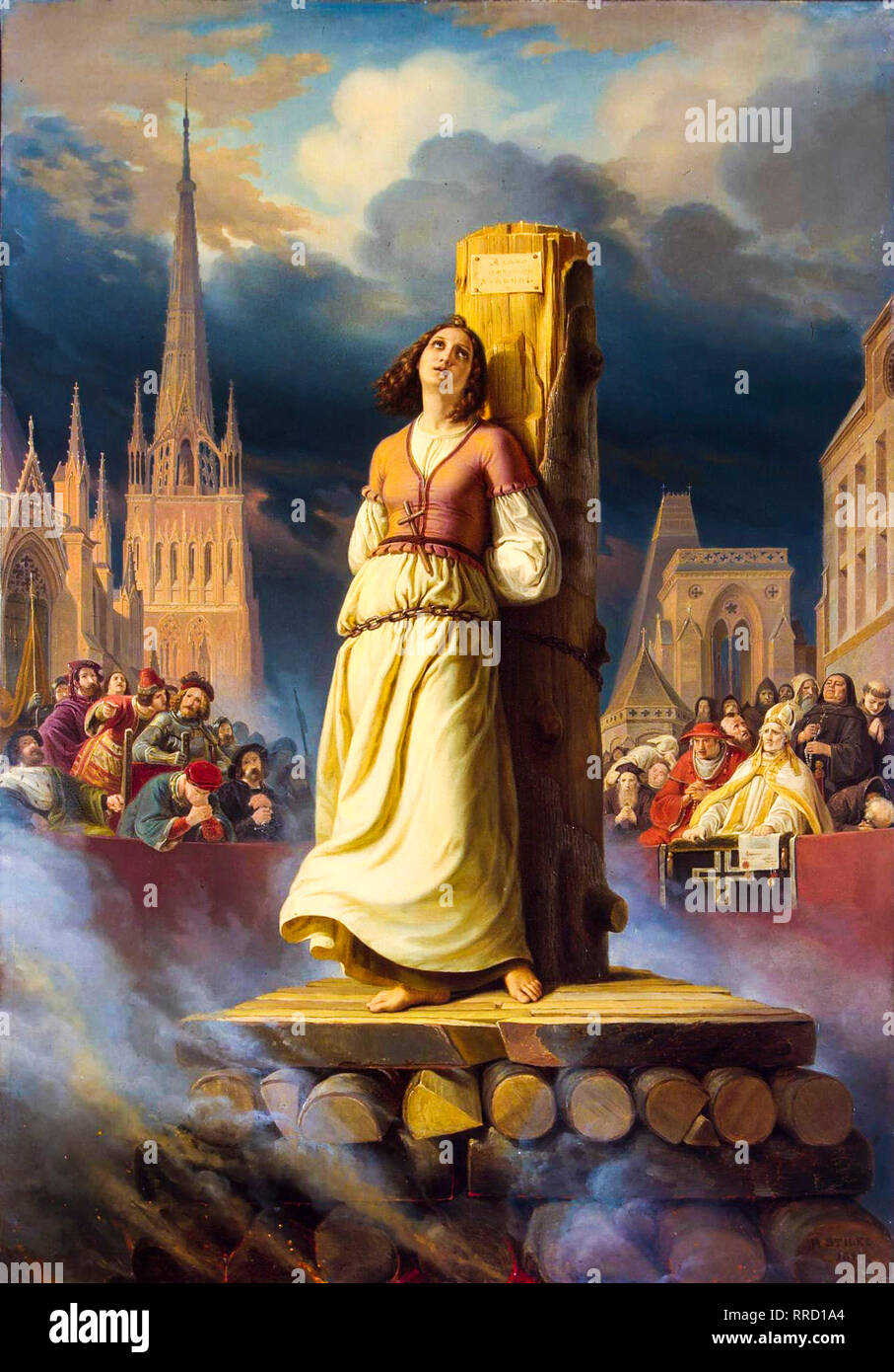 Joan of Arc's Death at the Stake, 1843, painting by Hermann Stilke - Stock Image