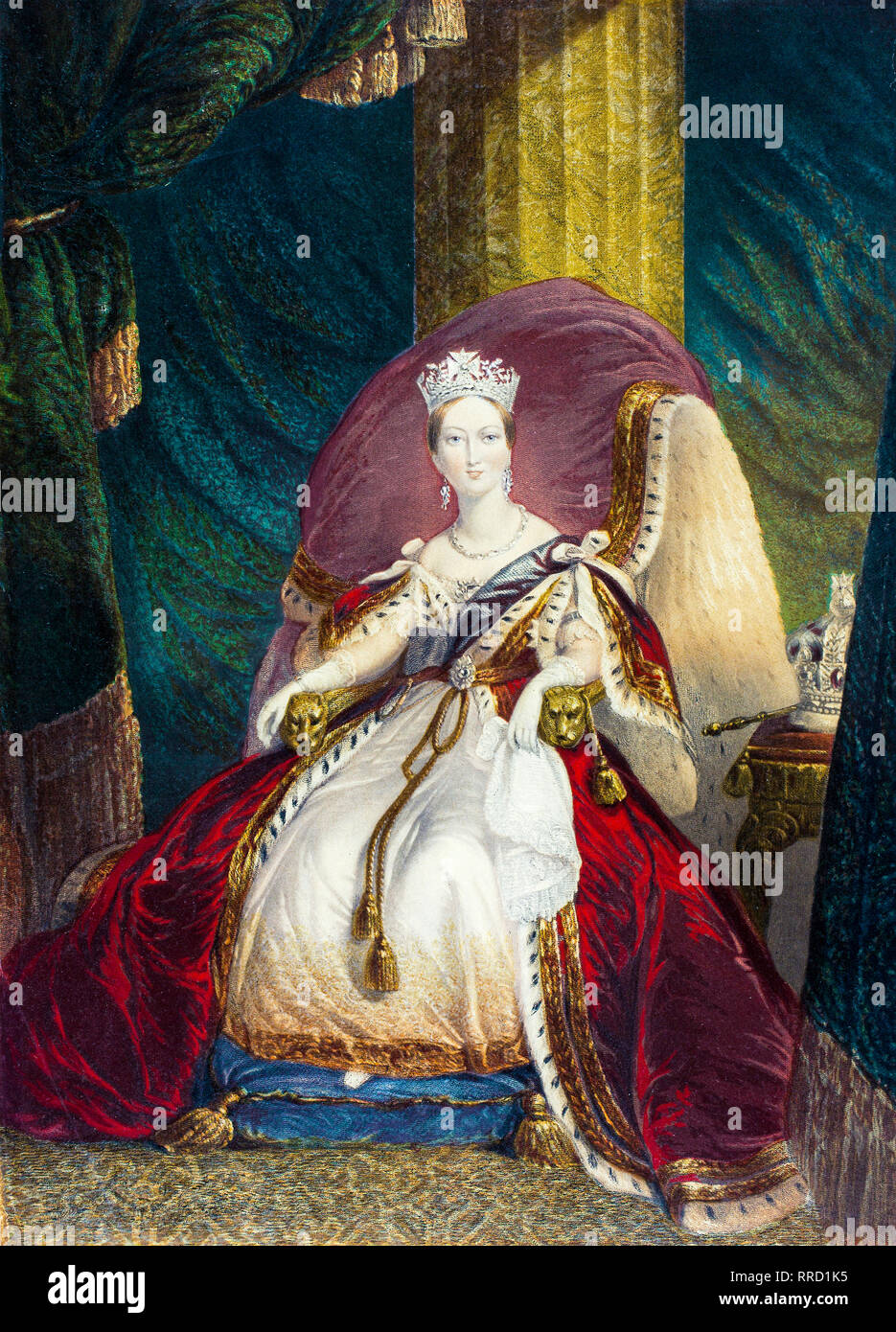 Queen Victoria, coronation portrait, George Baxter c. 1859 - Stock Image