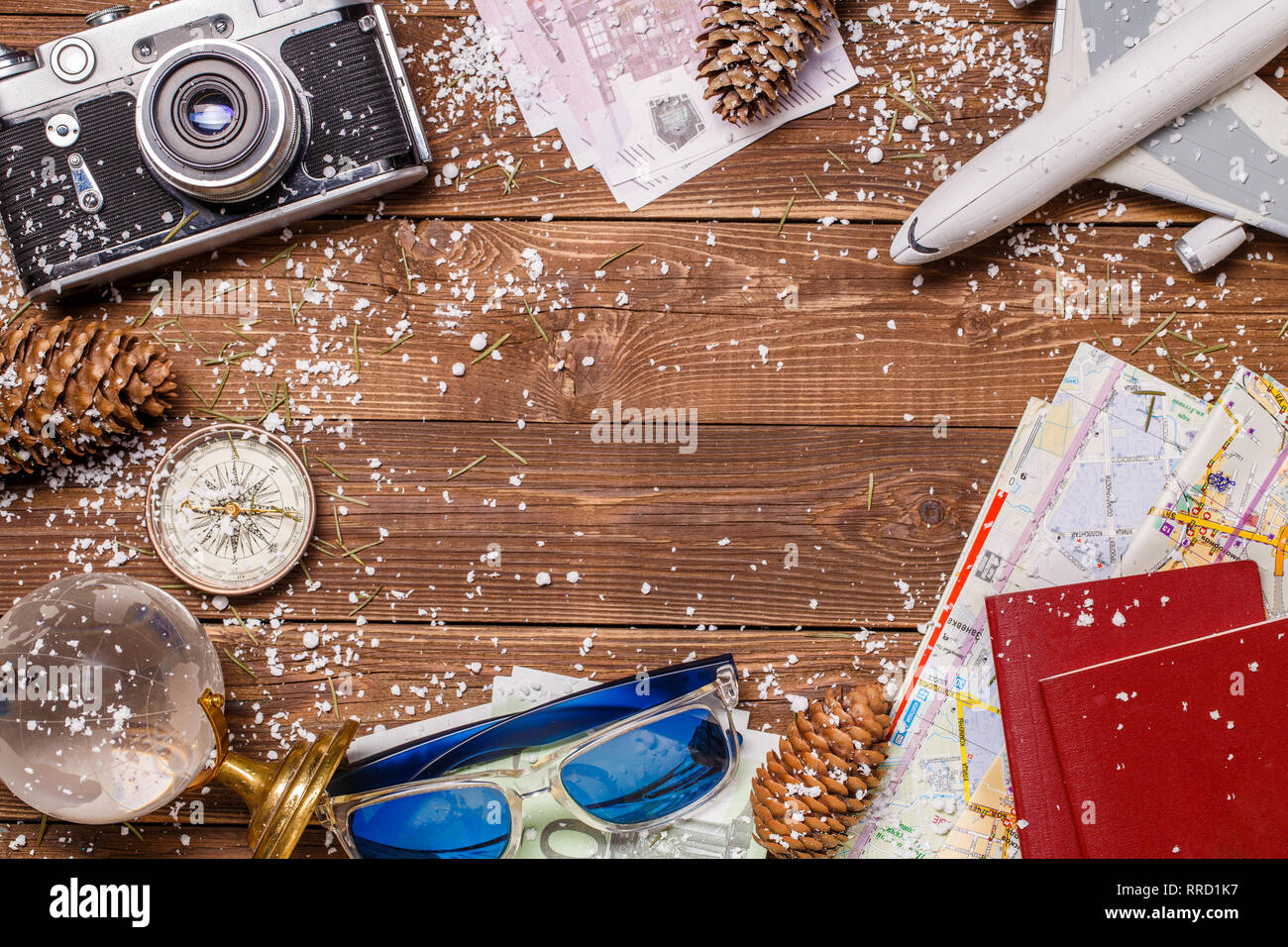 Traveler's attributes on wooden table - Stock Image