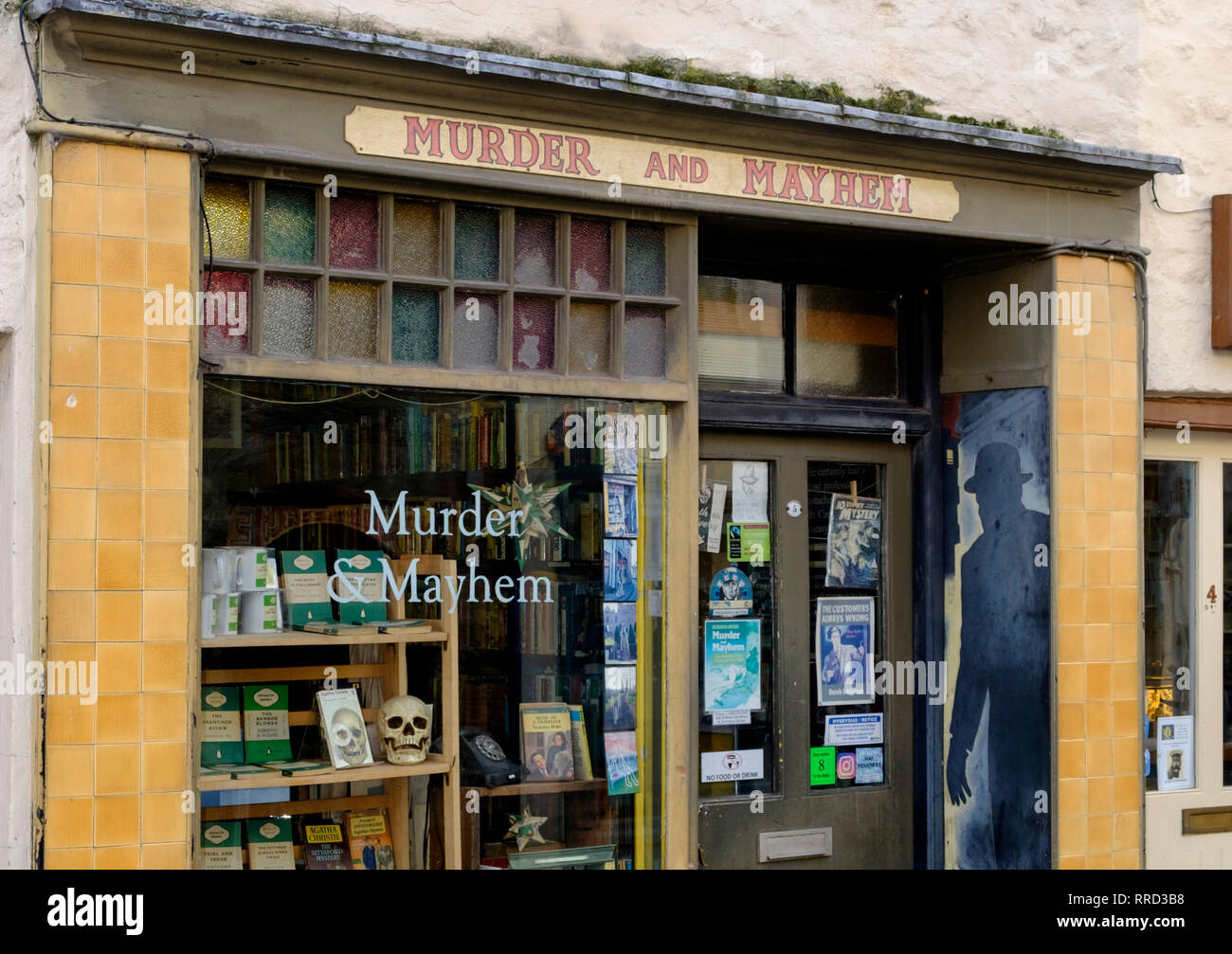 Hay-on-Wye a small market town in Brecknockshire Wales UK Murderand Mystery book shop - Stock Image
