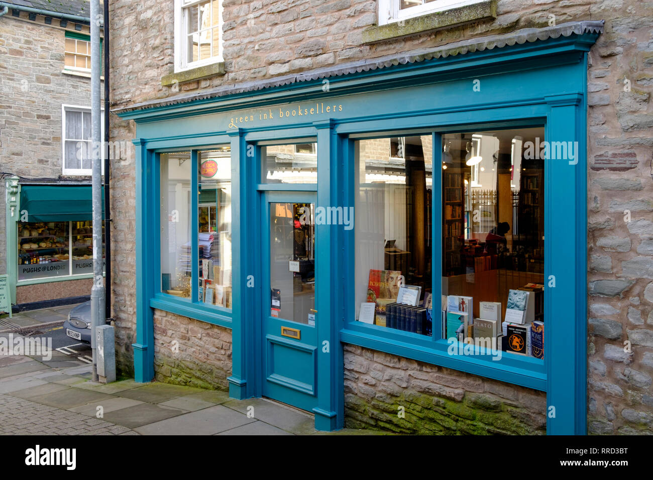 Hay-on-Wye a small market town in Brecknockshire Wales UK Green Ink booksellers - Stock Image