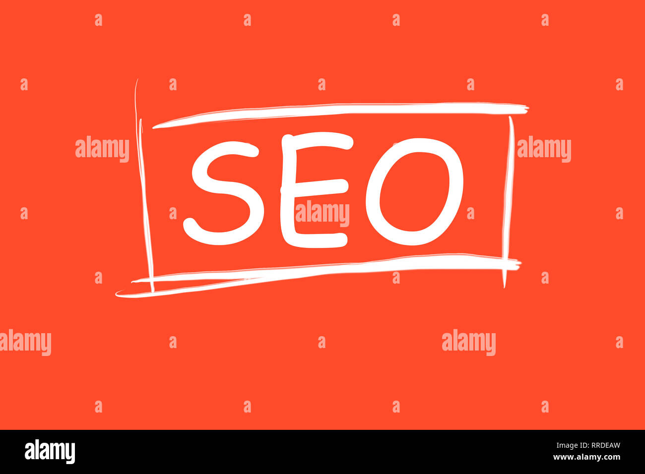SEO inscription in frame on red background. Search engine optimization. Increase website traffic - Stock Image