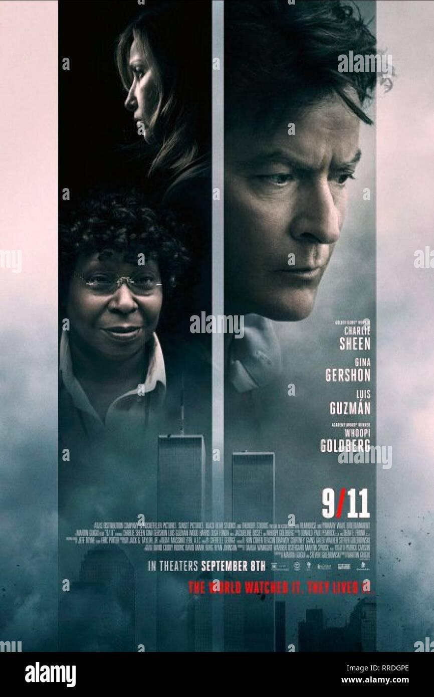 9/11, GINA GERSHON, WHOOPI GOLDBERG , CHARLIE SHEEN POSTER, 2017 - Stock Image