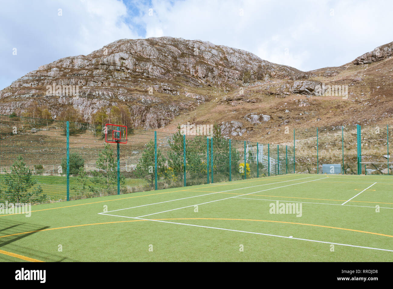 All weather sports pitch facilities in Shieldaig, ,Wester Ross,  Northwest Highlands, Scotland, UK - Stock Image