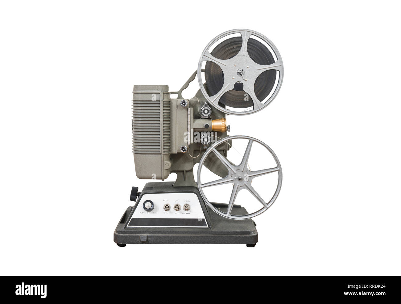 Vintage 8mm home movie film projector isolated on white