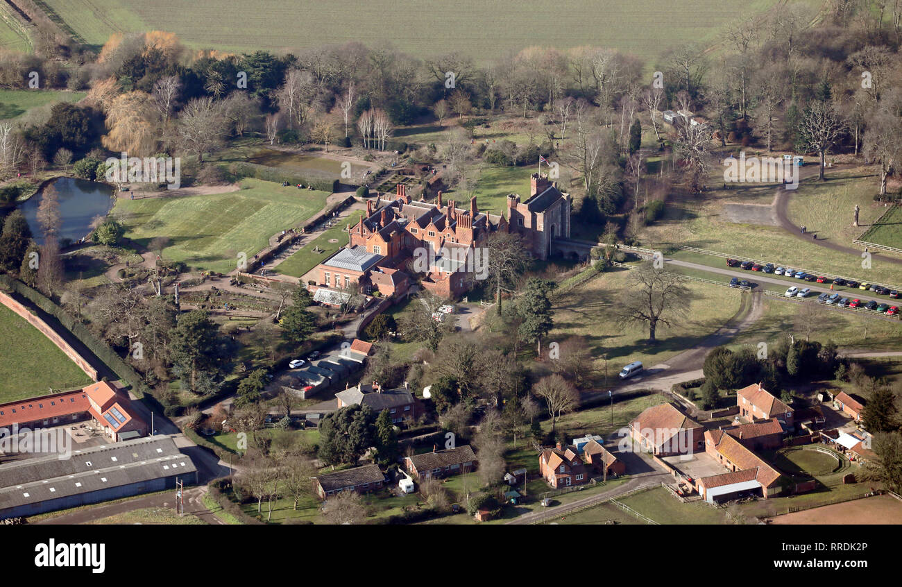 aerial view of Hodsock Priory wedding venue near Blyth, Nottinghamshire - Stock Image