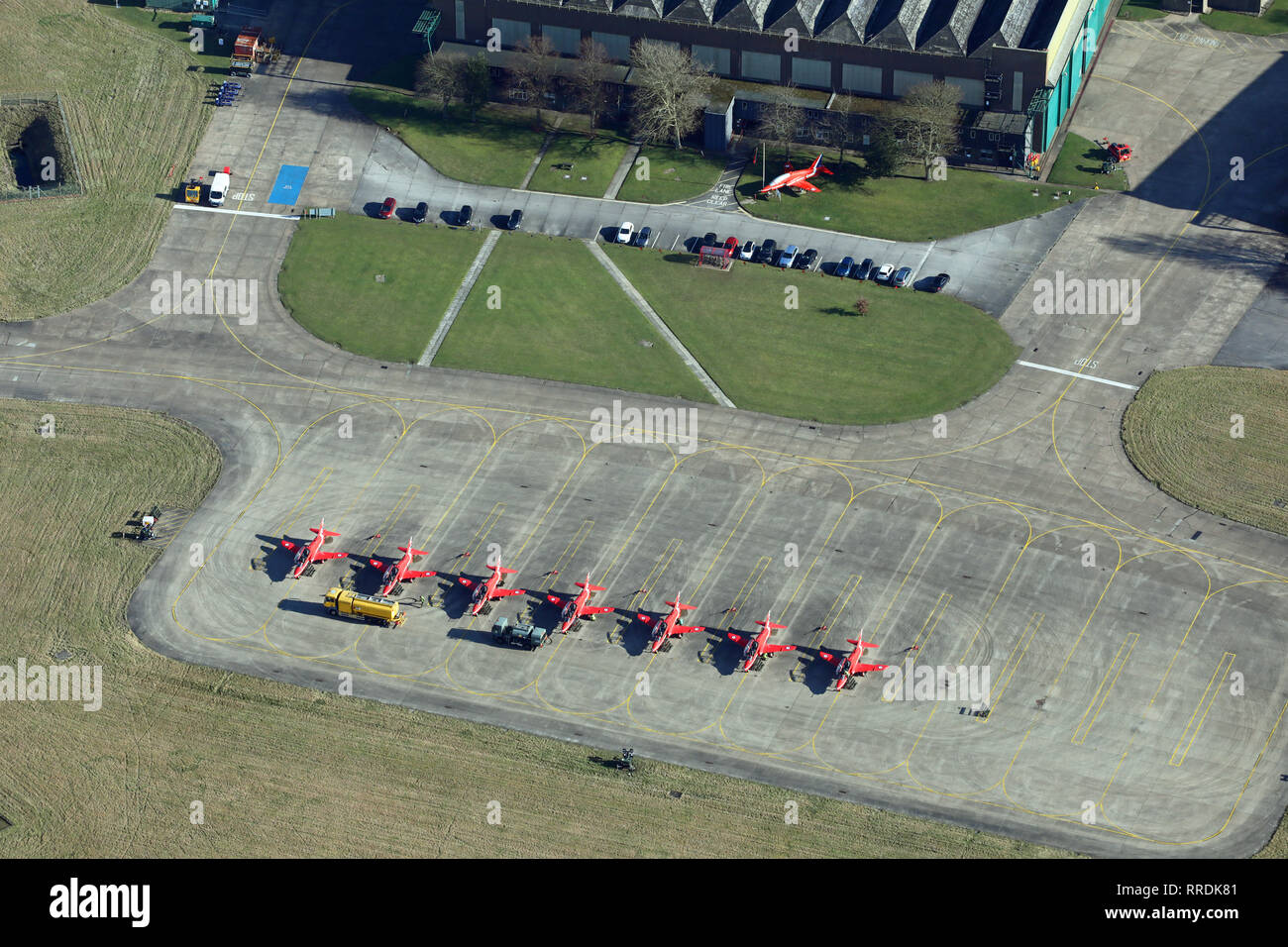aerial view of the Red Arrows jets on the ground at RAF Scampton, Lincolnshire - Stock Image
