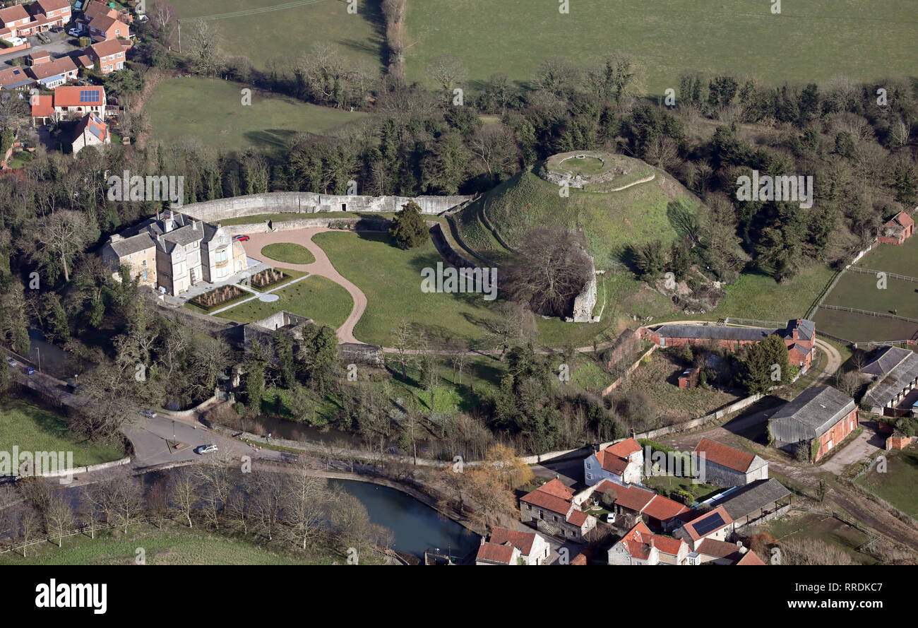 aerial view of Tickhill Castle near Doncaster, South Yorkshire Stock Photo