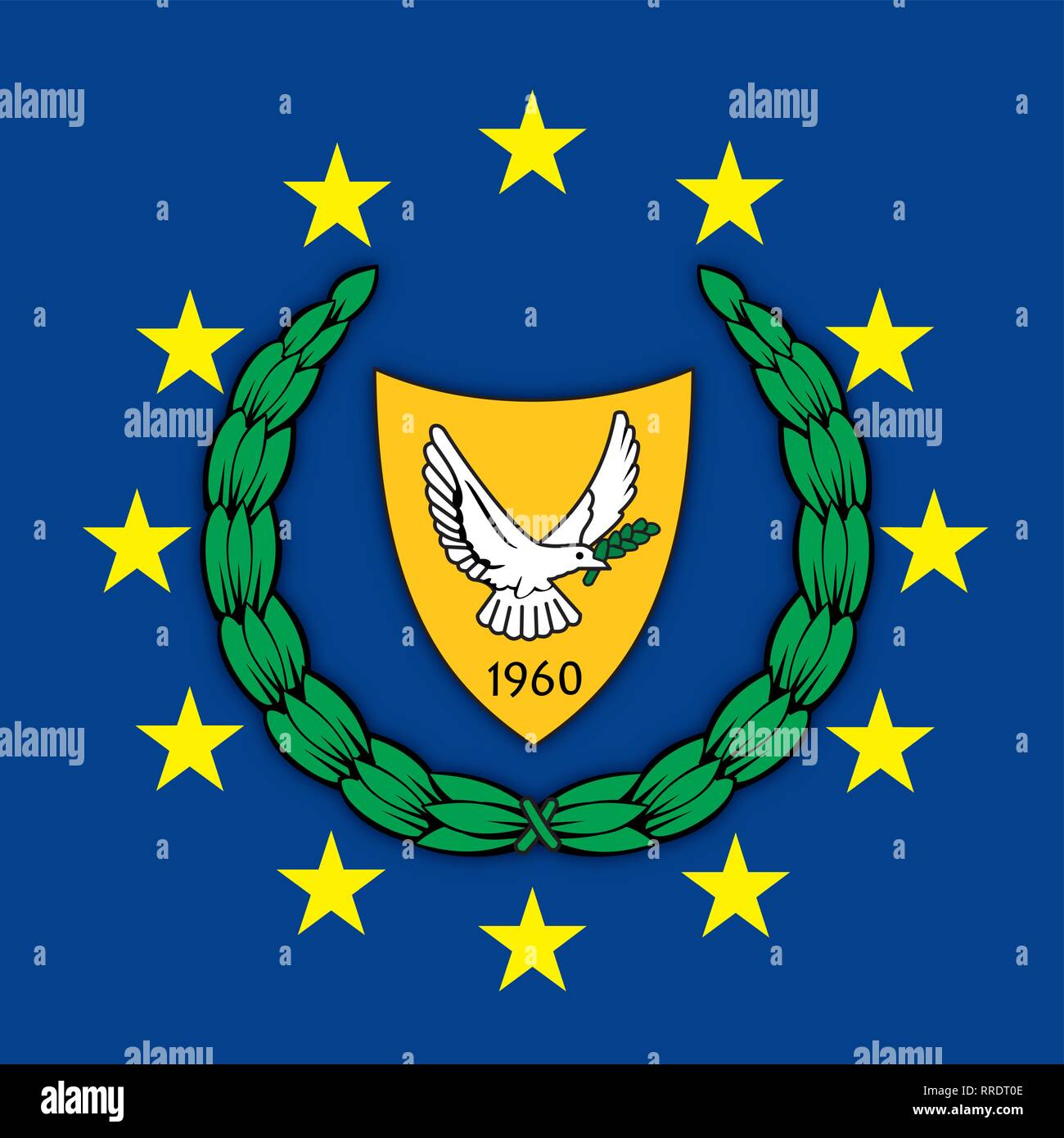 Cyprus coat of arms on the European Union flag, vector illustration - Stock Vector