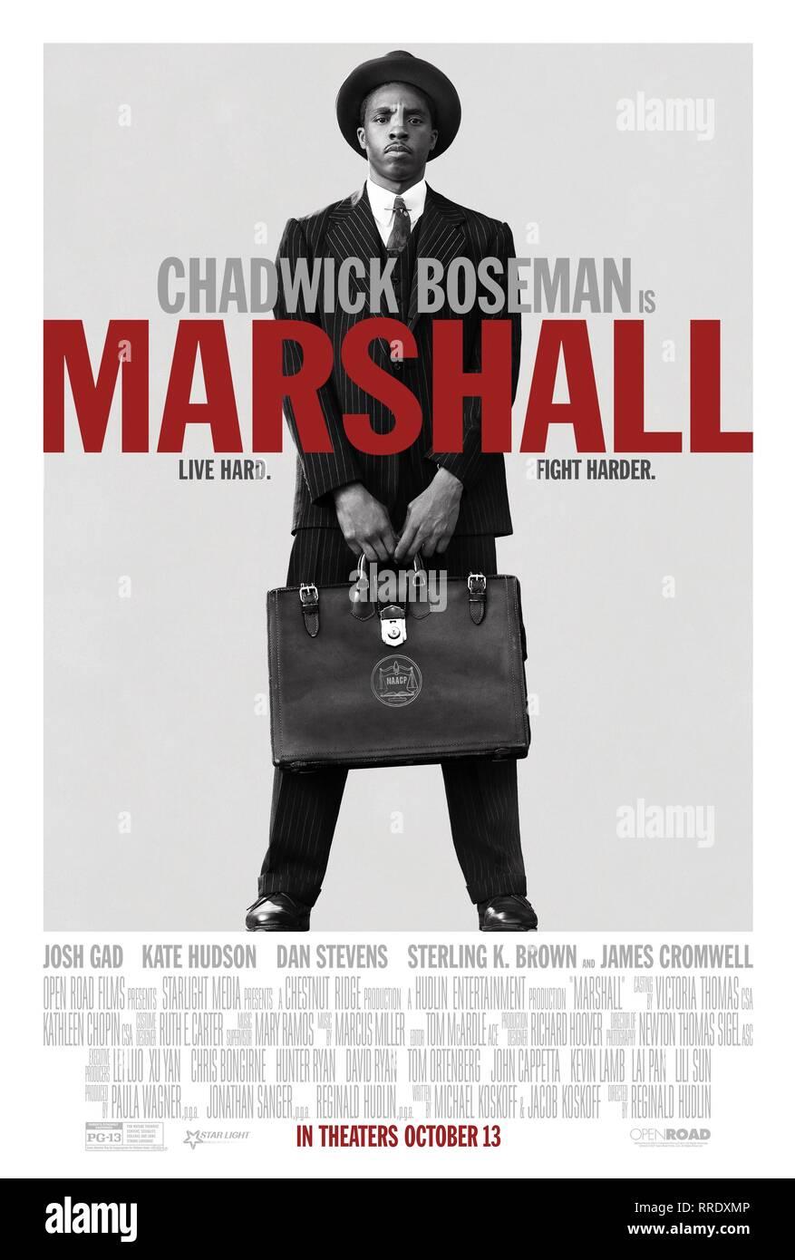 MARSHALL, CHADWICK BOSEMAN POSTER, 2017 Stock Photo