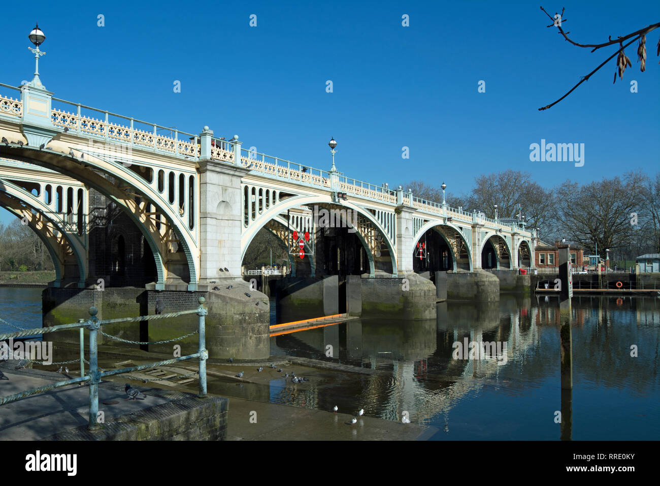 richmond lock footbridge reflected in the river thames at richmond, surrey, england Stock Photo