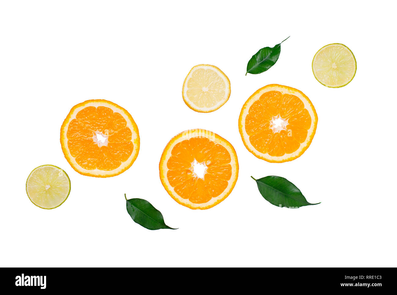 Different sliced citrus isolated on white Stock Photo